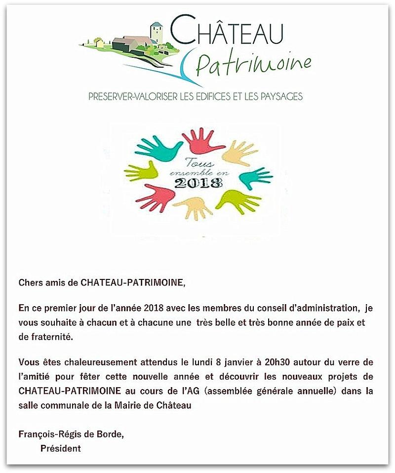 Chers amis de CHATEAU-PATRIMOINE,  En ce premier jour de l'année 2018 avec les membres du conseil d'administration,  je  vous souhaite à chacune et à chacun une  très belle et très bonne année de paix et de fraternité.    1_copi10