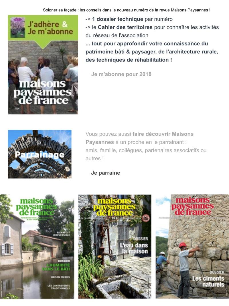 Soigner sa façade : les conseils dans le nouveau numéro de la revue Maisons Paysannes ! 212
