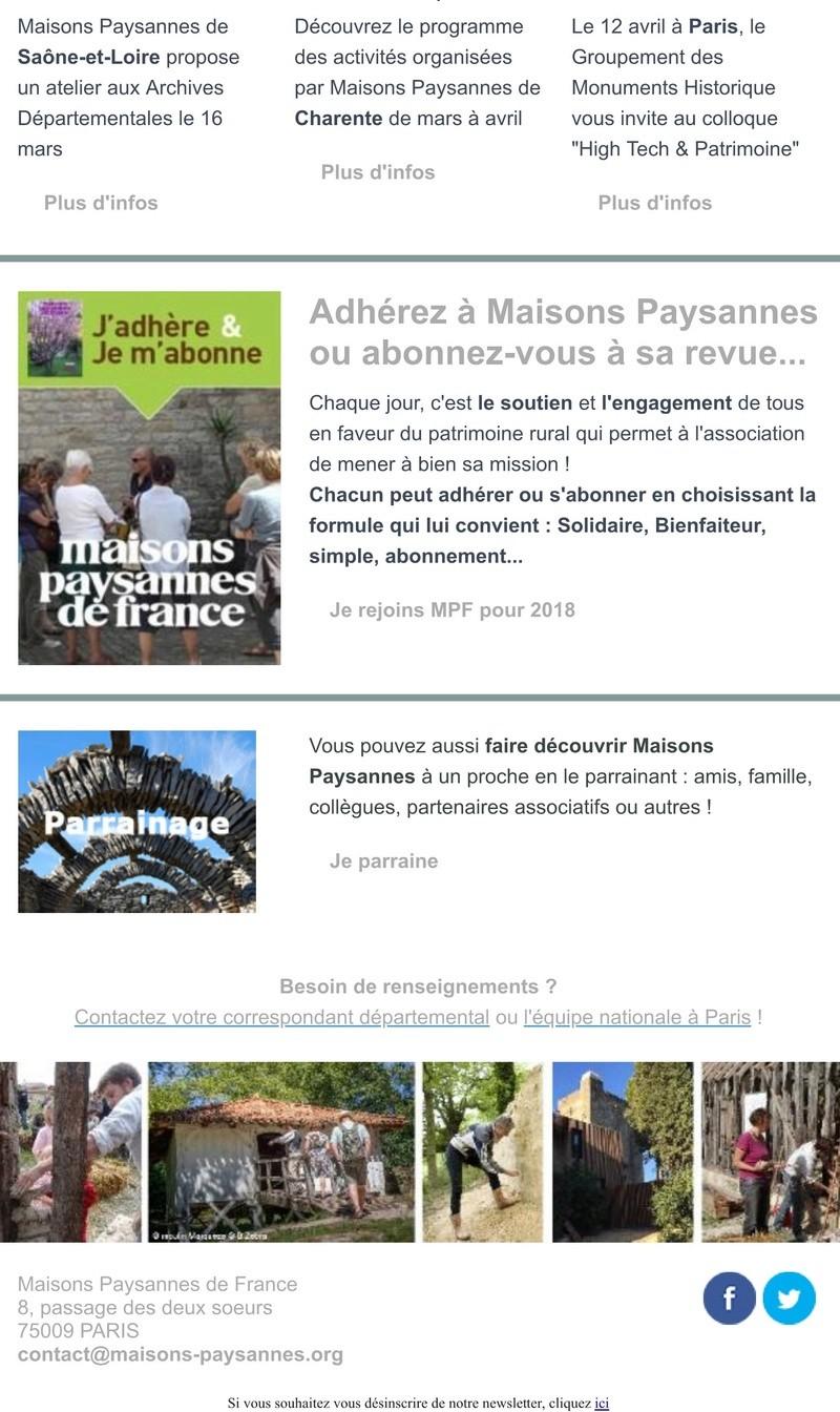 Lettre d'info Maisons Paysannes de France - mars 2018 220