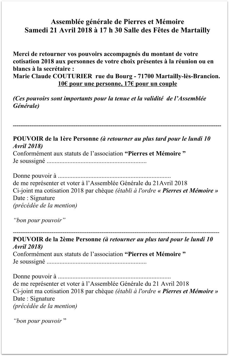 Assemblée Générale de Pierres et Mémoire Samedi 21 Avril 2018 à 17 h 30 Salle des Fêtes de Martailly 417