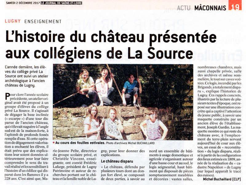 """Lugny (71) : """"L'histoire du château présentée aux collégiens de La Source"""" (""""Le JSL"""" du samedi 2 décembre 2017). Lugny_15"""