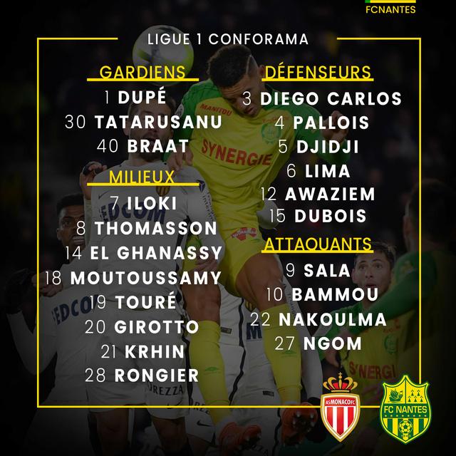 L1 J32  Samedi 07 avril 2018 - 17:00 AS Monaco / FC Nantes P1grou15