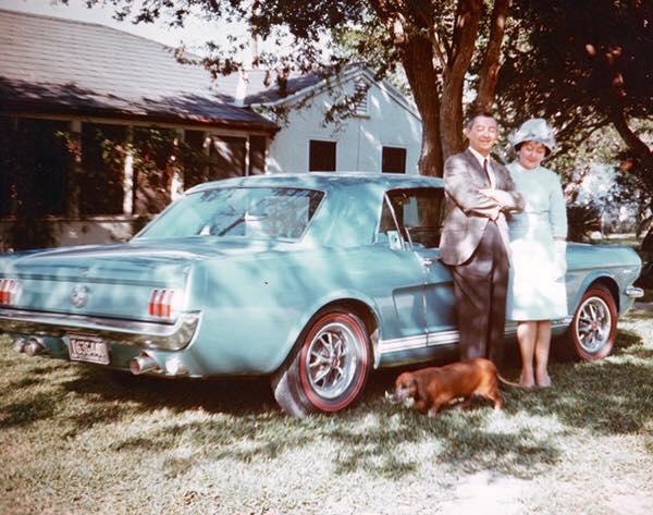 Vieille photo qui inclus des Mustang 65-73  44366310