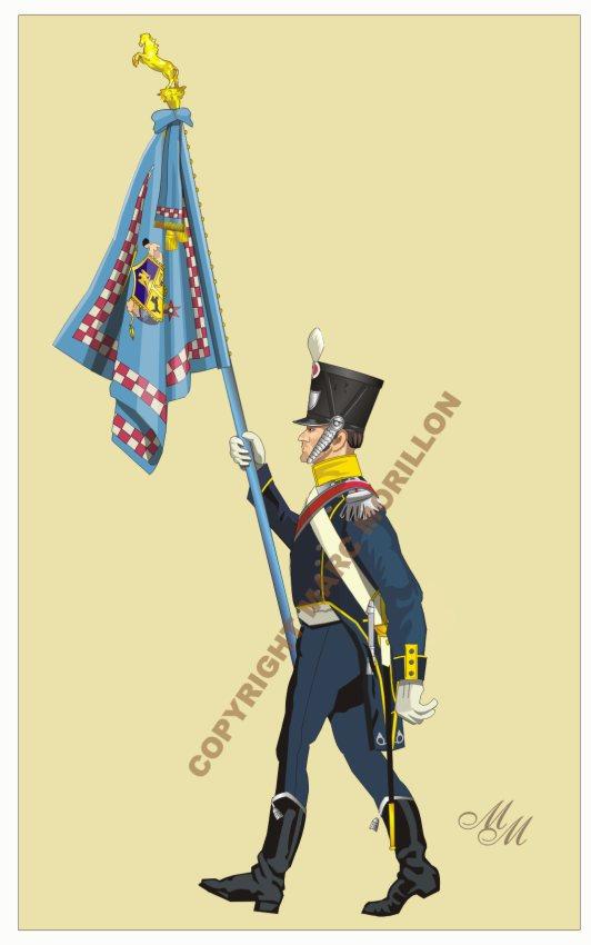 Drapeau du 1er régiment d'infanterie légère napolitaine Drapea11
