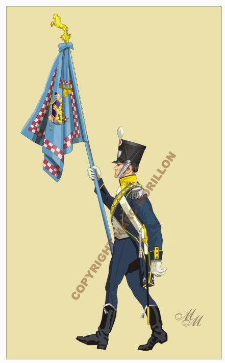 Drapeau du 1er régiment d'infanterie légère napolitaine Drapea12