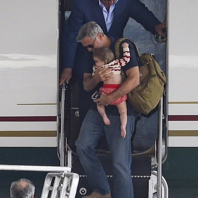 George and Amal arrive in Sardinia  Celebr10
