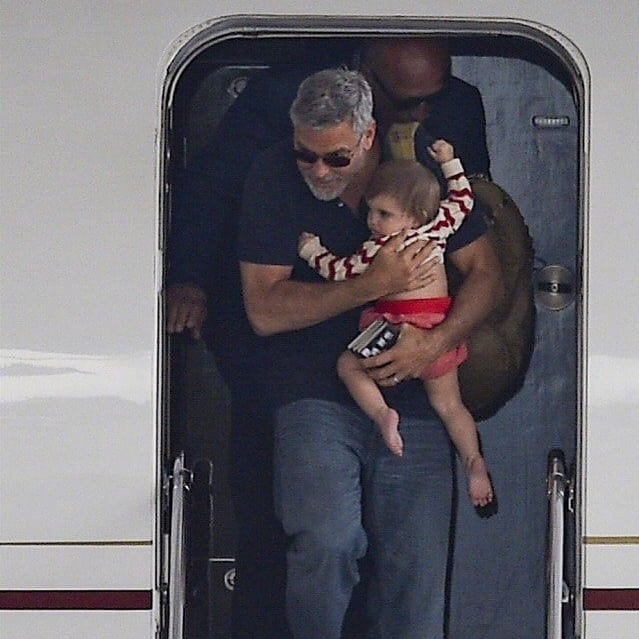 George and Amal arrive in Sardinia  Celebr11