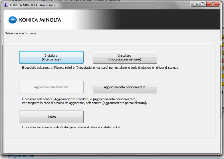 Guida driver universali stampanti Konica Minolta D110
