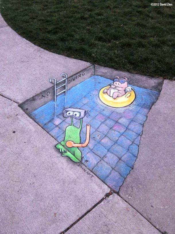David Zinn - Street Art poétique Chalk-28