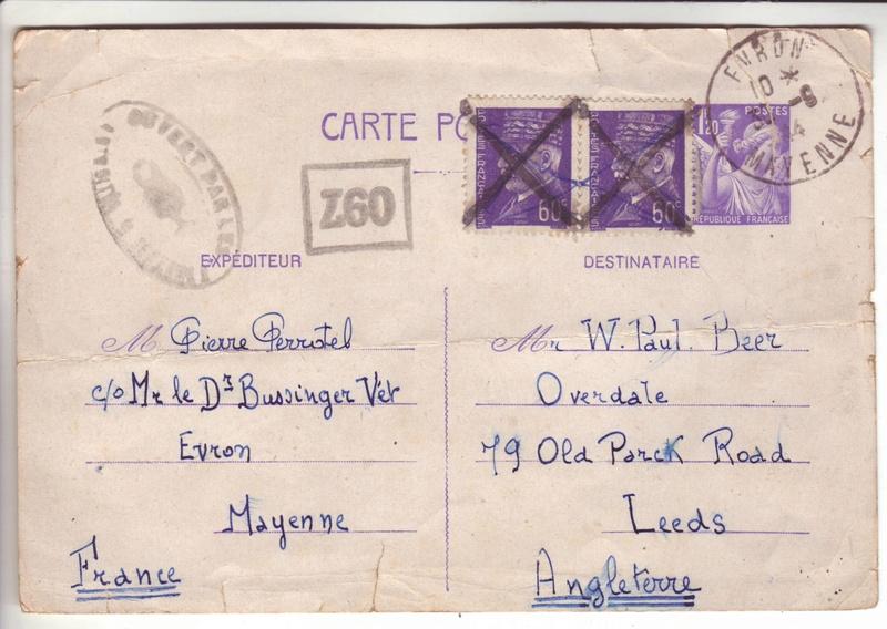 Entier postal Iris 1f20 + 2 timbres Pétain a 60cts, ces dernier non oblitéré au 30.09.44 ! 1a000110