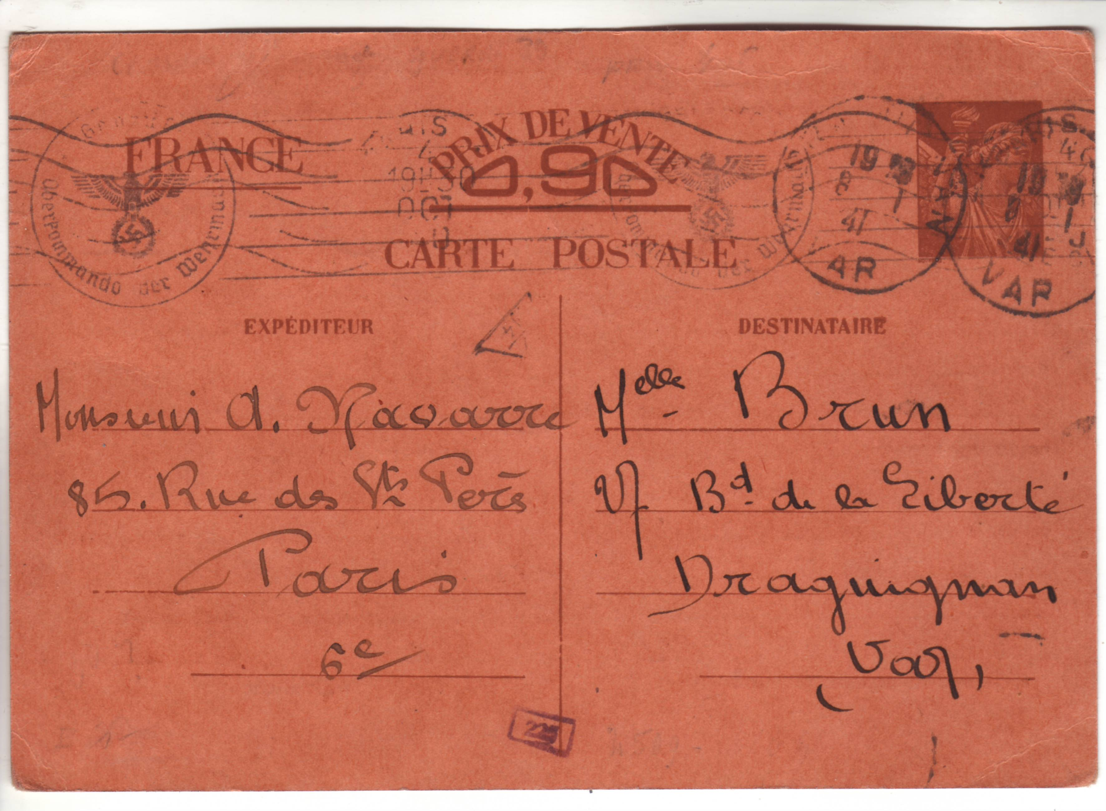 Carte Interzone de Paris 04.10.40 pour Draguignan avec censure de Francfort/Main ! A_010