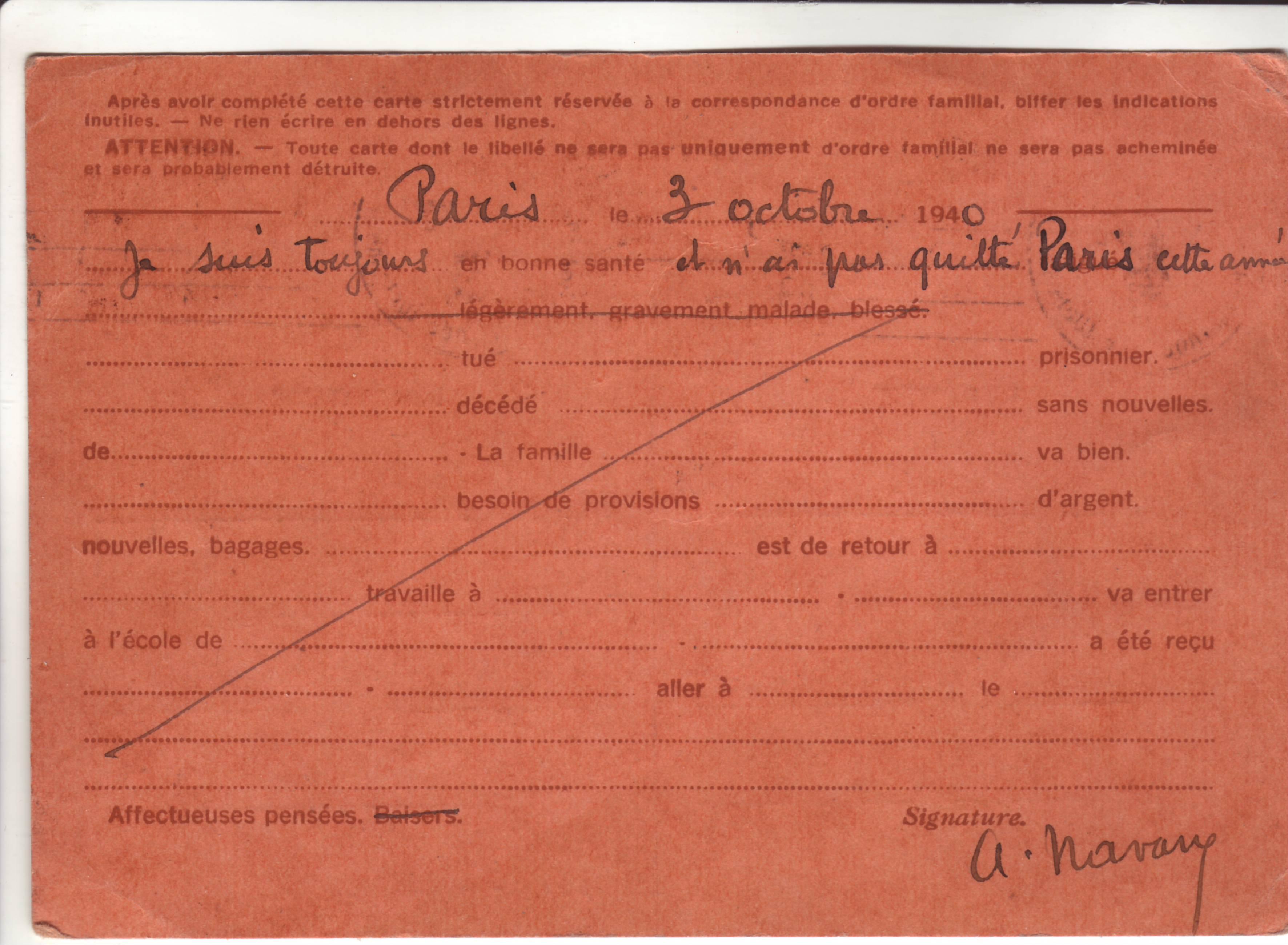 Carte Interzone de Paris 04.10.40 pour Draguignan avec censure de Francfort/Main ! A_0110
