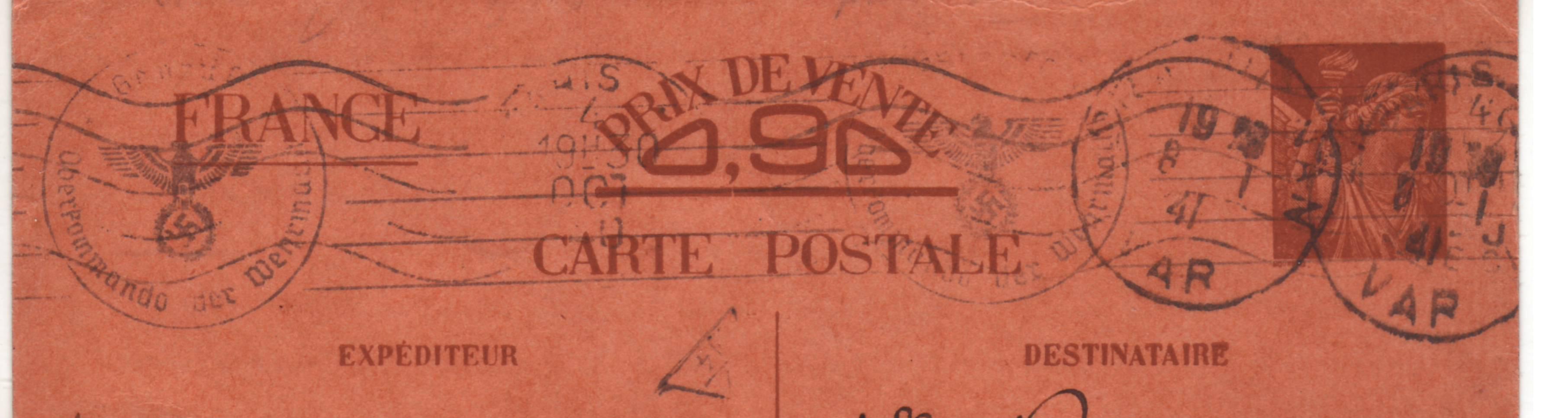Carte Interzone de Paris 04.10.40 pour Draguignan avec censure de Francfort/Main ! A_0_ko10