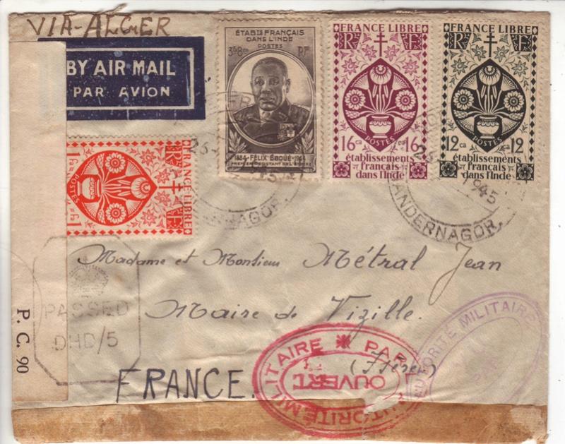 Lettre de Chandernagor de juillet 1945 ouverte par l'autorité militaire Ax000110