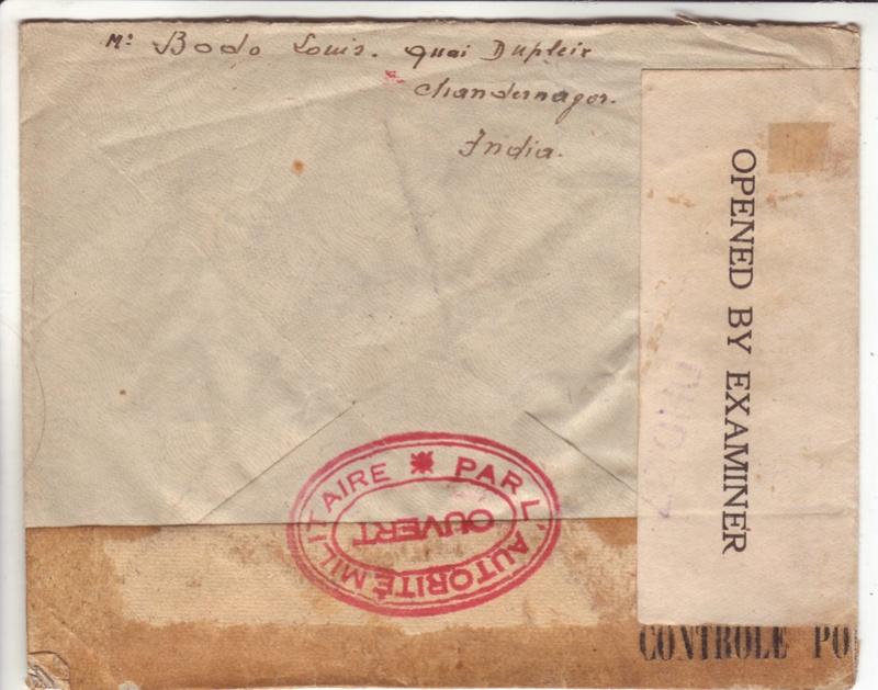 Lettre de Chandernagor de juillet 1945 ouverte par l'autorité militaire Ax110