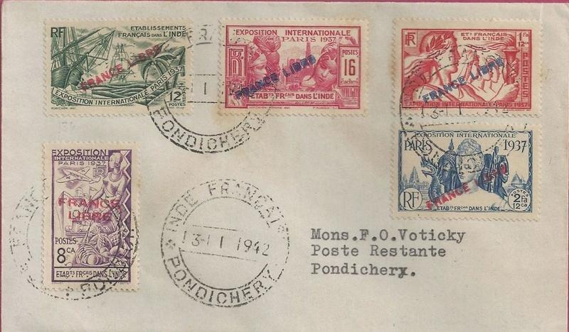 """Lettre locale de Pondichery de 1942 avec au verso un cachet """"Gouvernement de l'Inde Française"""". Inde_f10"""