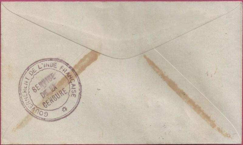 """Lettre locale de Pondichery de 1942 avec au verso un cachet """"Gouvernement de l'Inde Française"""". Inde_f11"""