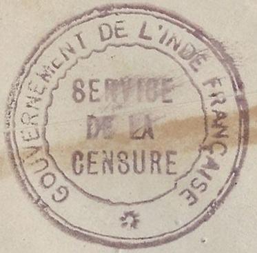 """Lettre locale de Pondichery de 1942 avec au verso un cachet """"Gouvernement de l'Inde Française"""". Inde_f12"""