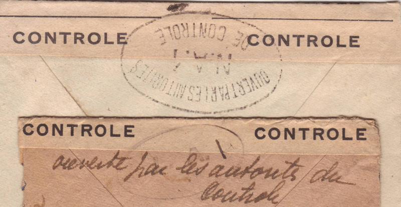 """Découverte? Cachet de contrôle """" LA.I """" sur pli du 25 décembre 1944 pour New York. La_i_n10"""