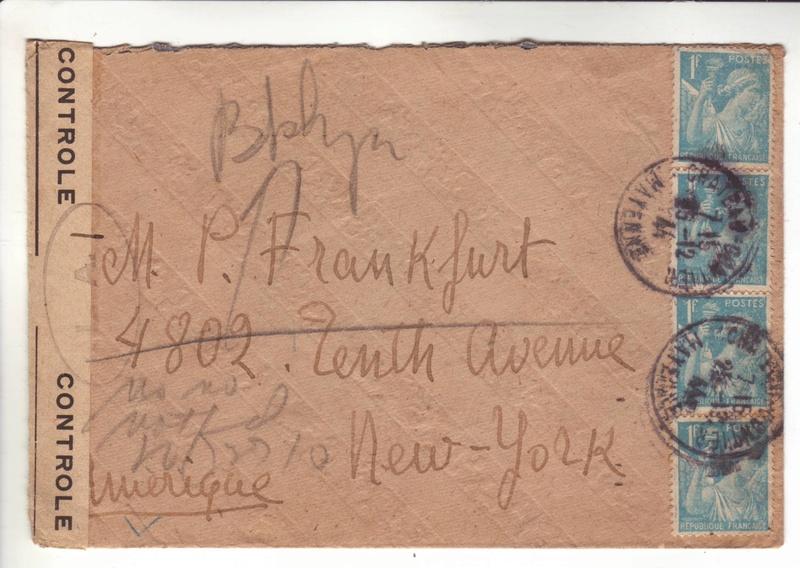 """Découverte? Cachet de contrôle """" LA.I """" sur pli du 25 décembre 1944 pour New York. La_i_r11"""