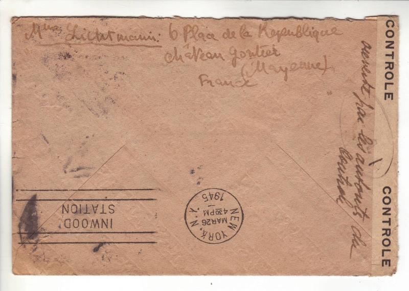 """Découverte? Cachet de contrôle """" LA.I """" sur pli du 25 décembre 1944 pour New York. La_i_v11"""