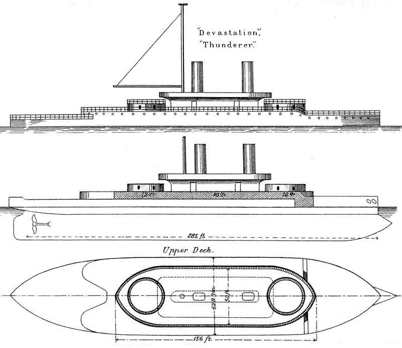 Les premiers cuirassés britanniques 1860-1889 Devast10