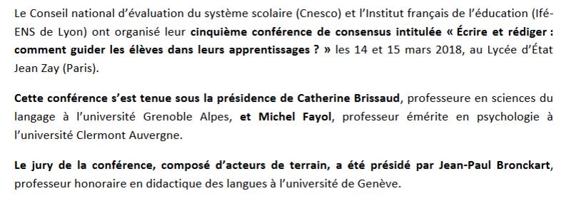 [CNESCO] Conférence de consensus, production de l'écrit. Captur50