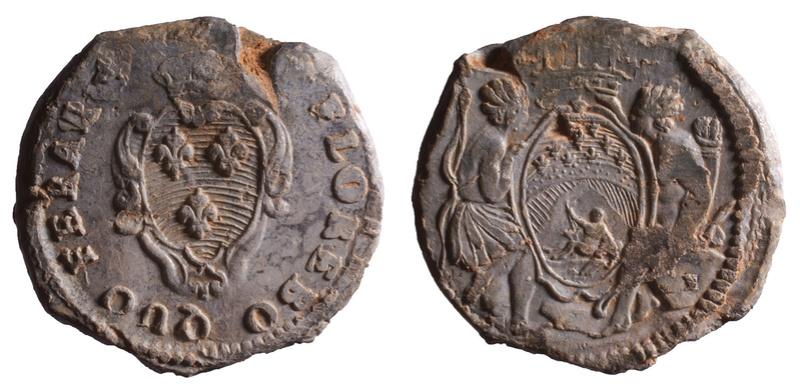 Compagnie des Indes, plomb circulaire à tunnel 1749-1769 D586410