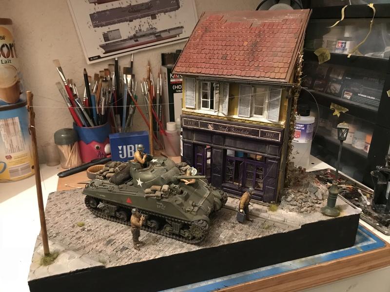 Diorama 1/35 Normandie 1945 sherman 6988ee10