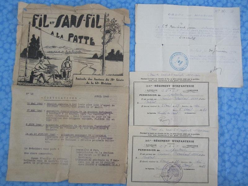 Lot de papiers d'un transmetteur de 1940 : Ordre mission, titre de permission...ESC - Juin 2 VENDU Img_6618