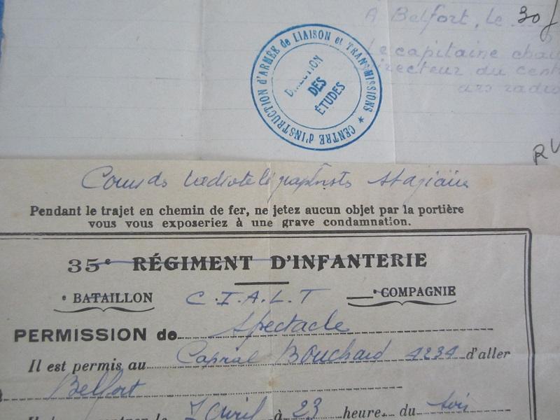 Lot de papiers d'un transmetteur de 1940 : Ordre mission, titre de permission...ESC - Juin 2 VENDU Img_6620
