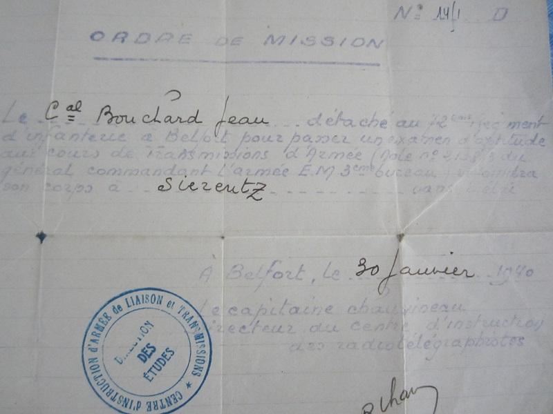 Lot de papiers d'un transmetteur de 1940 : Ordre mission, titre de permission...ESC - Juin 2 VENDU Img_6623