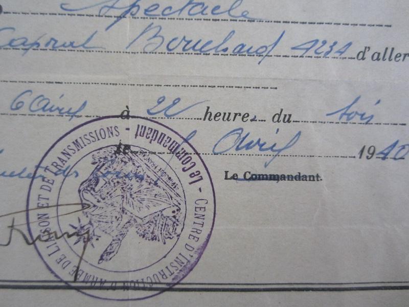 Lot de papiers d'un transmetteur de 1940 : Ordre mission, titre de permission...ESC - Juin 2 VENDU Img_6624