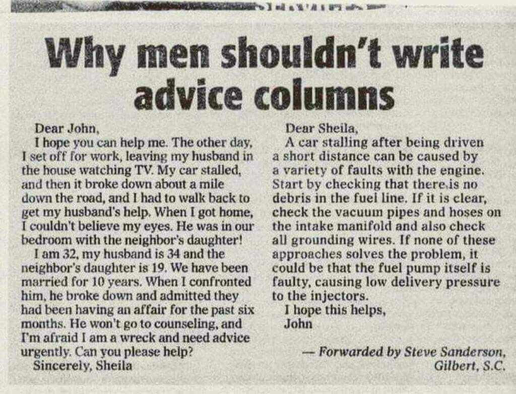 Why men should not do advice columns Dehfsw10