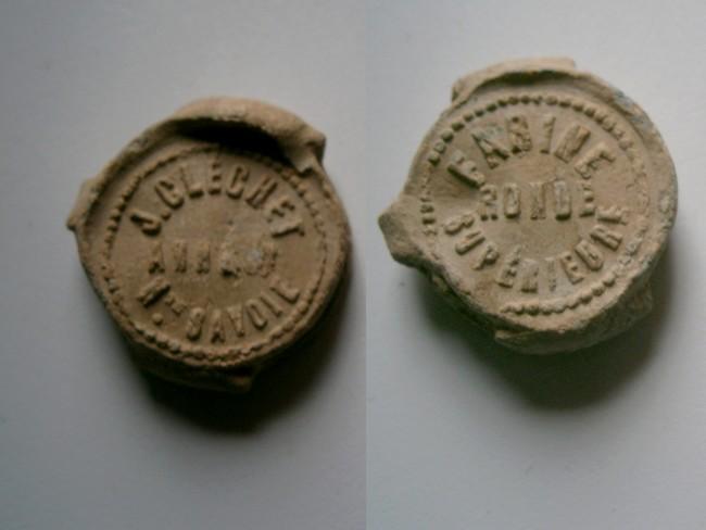 """Haute Savoie - Plomb de scelle """"J. Clechet Annecy Haute Savoie"""". 00319"""