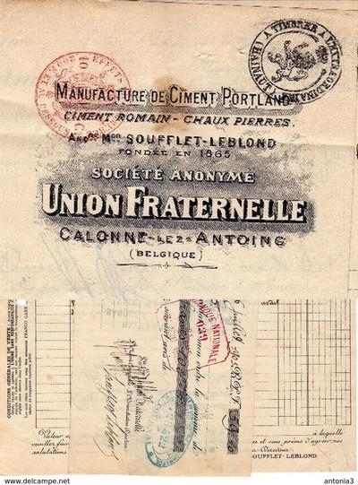 """Plomb de scelle """"Ciment Portland superieur – Societe anonyme Union Fraternelle"""". Souffl11"""