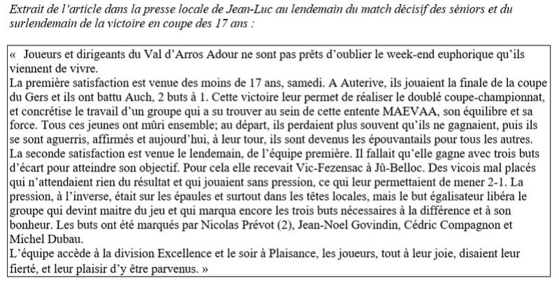 1998-1999 : LA PREMIERE MONTEE EN EXCELLENCE. 9janv911
