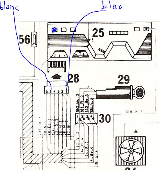 branchement comodo phare cligno Cab310