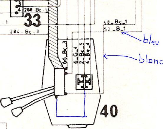 branchement comodo phare cligno Cab410
