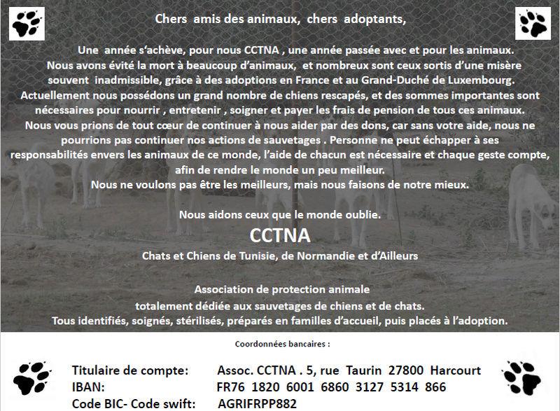 Don d'argent au profit des animaux de CCTNA Affich12
