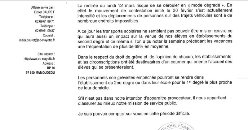 Violences scolaires à Mayotte : deux lycées et tous les transporteurs scolaires en droit de retrait (pétition) Lettre11
