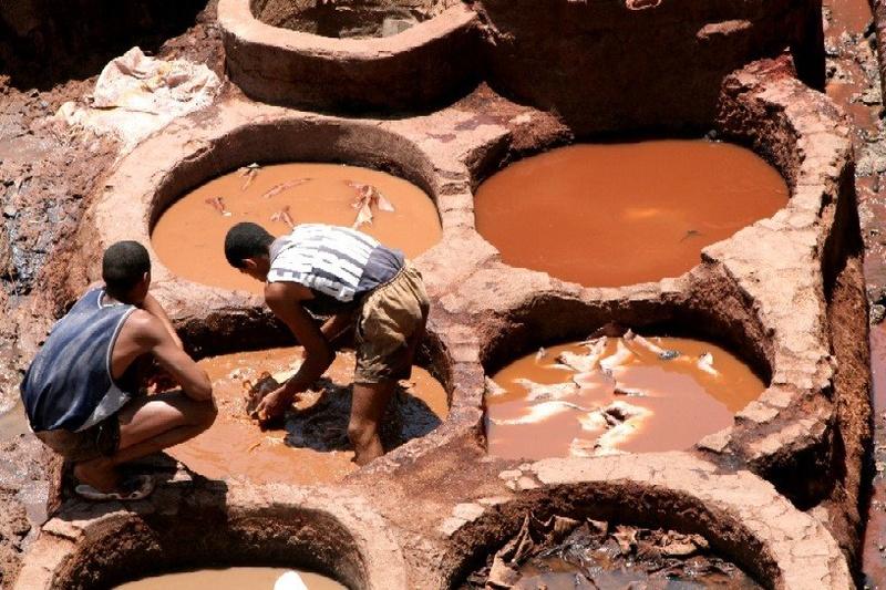 Tanneries Chouara, Quartier des Tanneurs dans la  médina de Fès au Maroc. 11455910