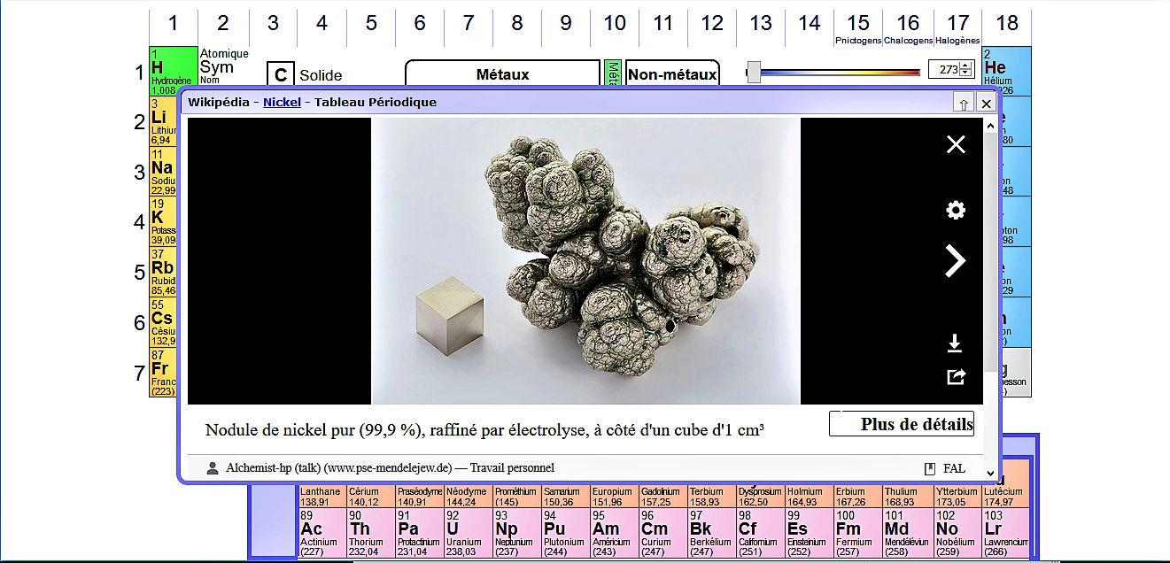 La Table de Mendeleïev - Tableau périodique des éléments Ni10