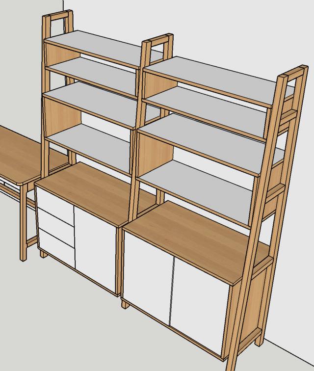 Ensemble bureau/meuble bas/bibliothèque - Page 5 Plan110