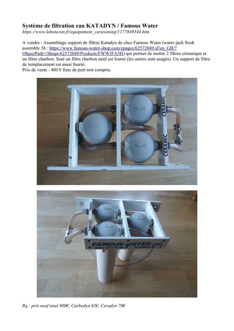 Système filtration d'eau  Katadyn Annonc10