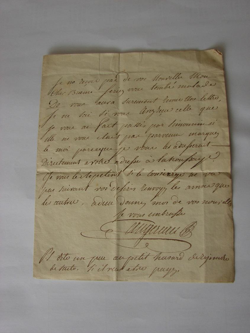 Estimation de lettres du Général Augereau, Maréchal et de son aide camp 116