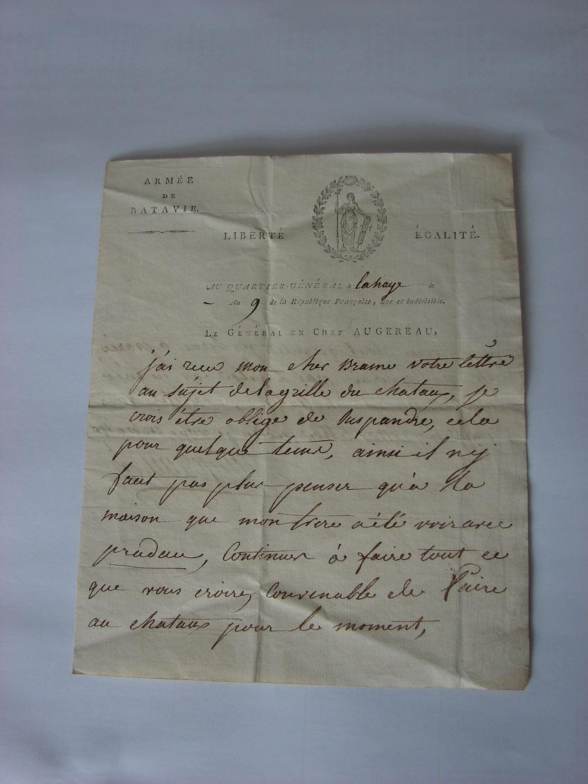 Estimation de lettres du Général Augereau, Maréchal et de son aide camp 215