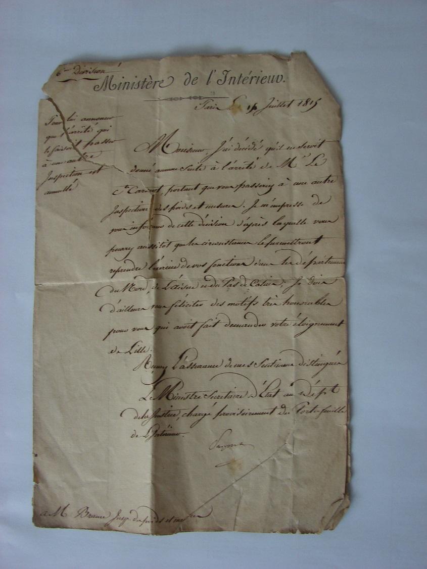 Estimation de lettres du Général Augereau, Maréchal et de son aide camp 615