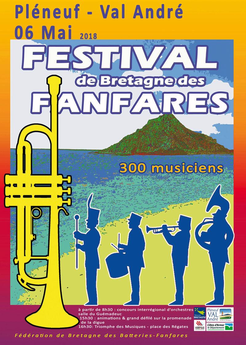Festival de Bretagne des fanfares le 06 mai 2018 à Pléneuf Val André (22) Affich10