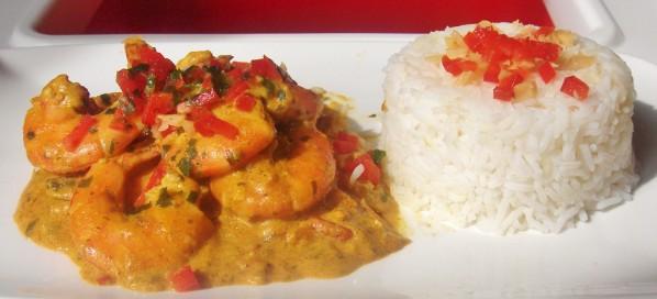 gambas au curry crême de noix de coco pour 1 assiette 02710